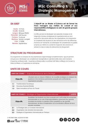 Tbs Education Msc Consulting & Strategic Management Program Outline