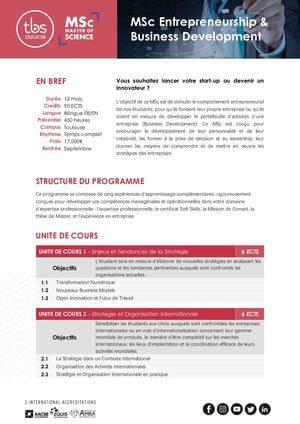 Tbs Education Msc Entrepreneurship & Business Development Program Outline