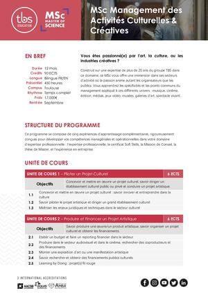 Tbs Education Msc Management Des Activites Culturelles Et Creatives Program Outline