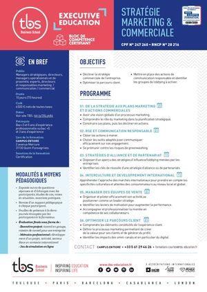 Cycle Certifiant Strategie Marketing Commerciale Brochure Tbs
